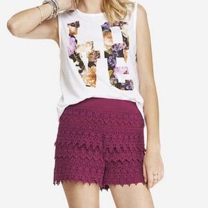 Express High Rise Lace Tiered Shorts